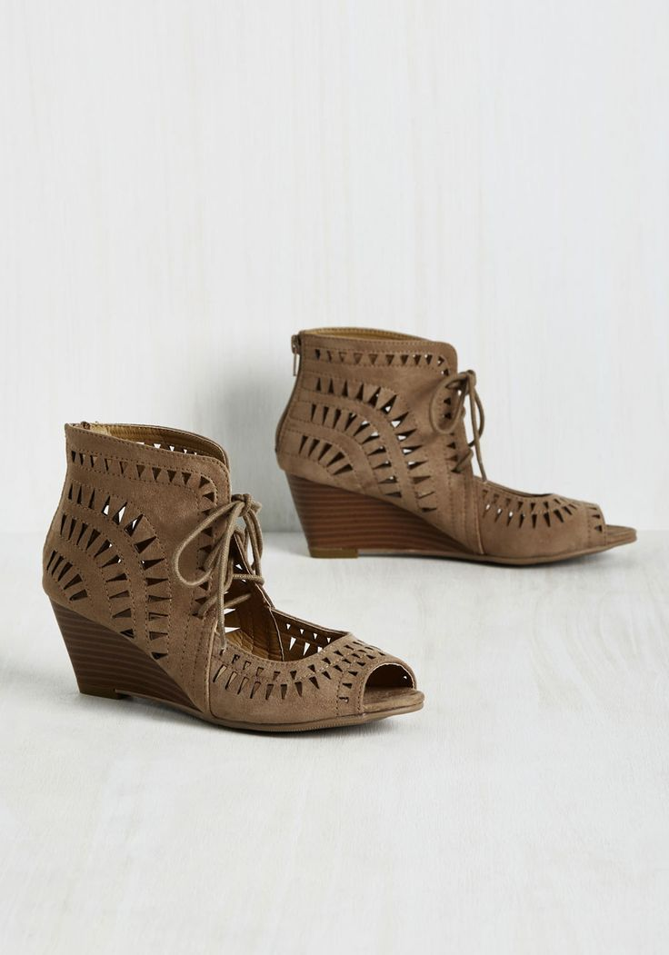 Tri on for Size Wedge in Taupe. Thinkin about taking these peep-toe wedges out for a spin? #brown #modcloth