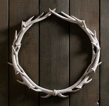 Weathered Antler Wreath, White - eclectic - accessories and decor - Restoration Hardware
