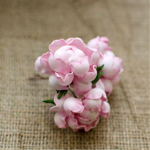 Pink Roses Foam Flowers 6 pcs Wedding Flower Jewelery making