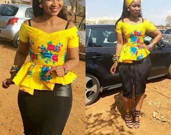Peplum top, Ankara top, African print,  African Clothing, African fashion, floral top, spring, yellow peplum