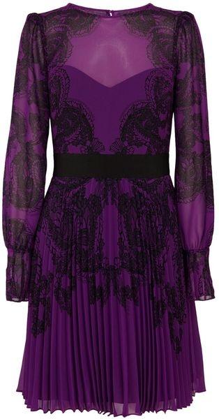 KAREN MILLEN ENGLAND Lace Print On Pleated Gg - Lyst