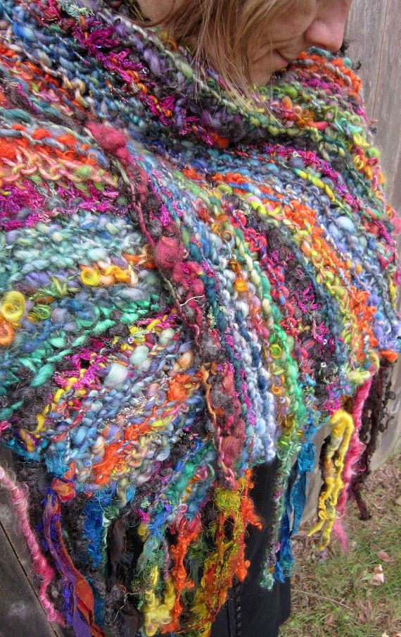! rustic handknit silk and wool wrap shawl scarf from the enchanted forest - soft gypsy patchwork via Etsy.