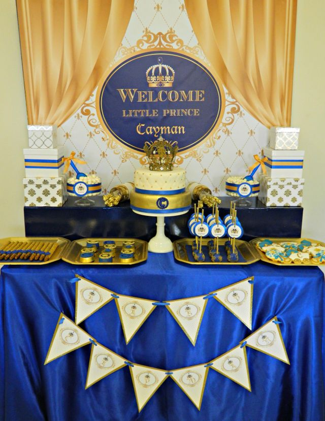 Royal Blue and Gold Prince Baby Shower Sweets Table!!