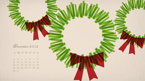 Free modern wreath and snowflake desktop and mobile wallpapers including a December 2012 calendar design.