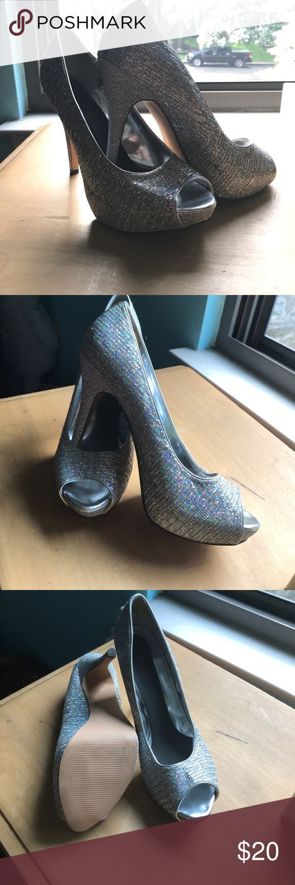 Sexy, glittery, high heel shoes size 11 It can be so hard to find size 11 shoes that are beautiful. Here they are. Size 11. Worn once with gel padded added to them. Surprisingly comfortable for the height. These shoes are in used condition. Worthington Shoes Heels