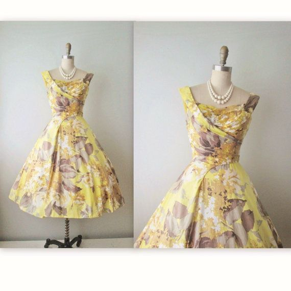 50u0027s Ceil Chapman Dress // Vintage 1950u0027s Floral Print Cotton Ceil Chapman  Draped Garden Party Wedding Dress XS