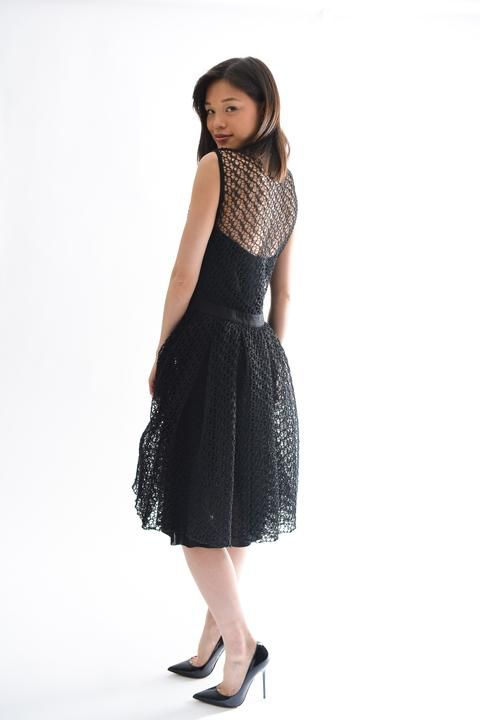 451e3551f56 Christian Dior Black Net Dress Size 10