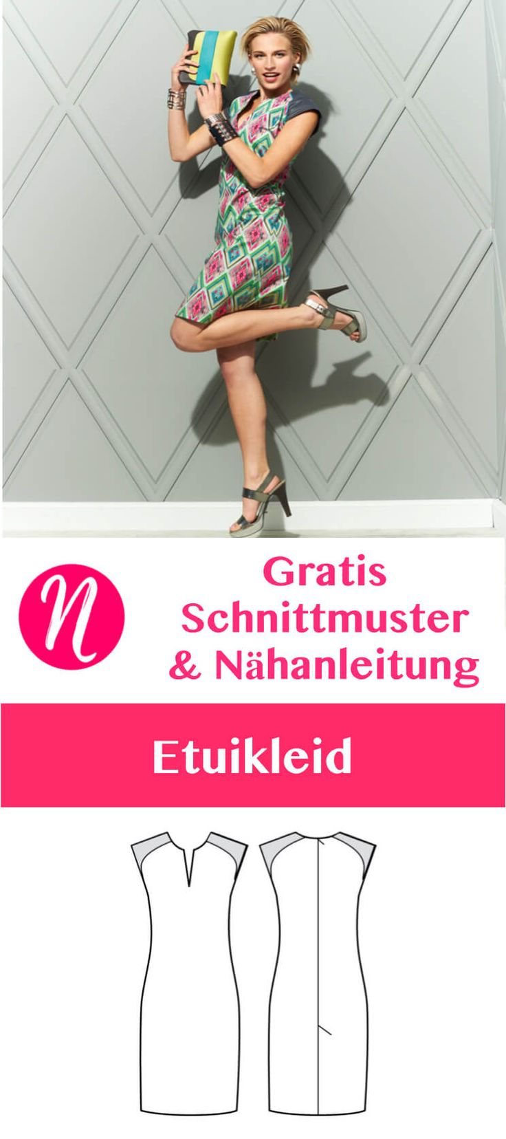 Gratis Schnittmuster für ein pfiffiges Etuikleid in Gr. 36 - 46. Toll für den Sommer. Mit Nähanleitung ❤ Nähtalente - Magazin für kostenlose Schnittmuster ❤ Free sewing pattern for a ladies shift dress in size 36 - 46. Perfect for the summer. PDF-sewing-pattern for print at home ❤ Nähtalente - Magazin for sewing and free sewing pattern ❤