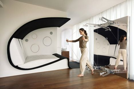 Love the built-in bed/lounger.: Interior Design, Health Club, En Roma, Designed Bedroom, Built In Bed Lounger, Fitness Equipment, Bedroom Technogym