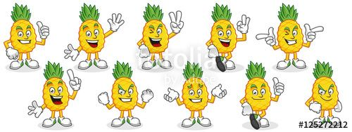 "Download the royalty-free vector ""Pineapple mascot pack. Vector set of pineapple characters. Pineapple vector pack."" designed by ednal at the lowest price on Fotolia.com. Browse our cheap image bank online to find the perfect stock vector for your marketing projects!"