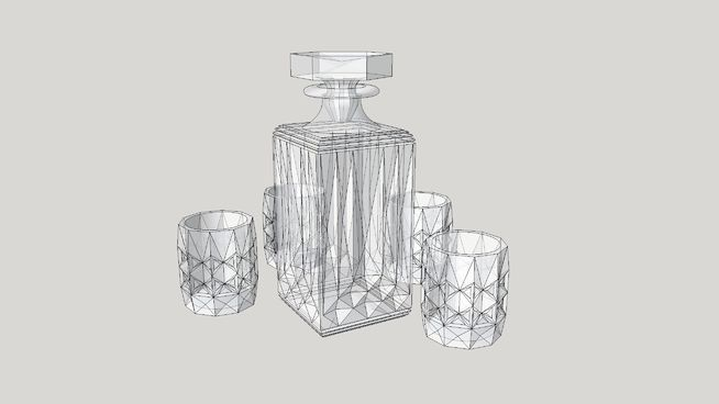 Large preview of 3D Model of графин для виски,  графин,  стаканы, рюмки,decanter for whiskey, decanter,  glasses, stemware
