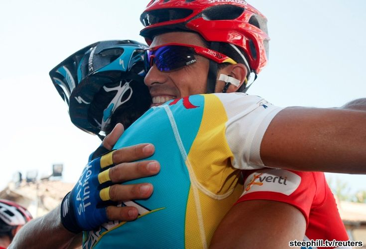 It's unusual for a rider on a different team to congratulate another rider like this, but without good friend and former teammate Paolo Tiralongo's (Astana) help, Alberto Contador (Saxo Bank-Tinkoff Bank) likely wouldn't have won yesterday's stagePro Cycling, Alberto Contador, Saxo Banks Tinkoff, Paolo Tiralongo, Banks Tinkoff Banks, Tiralongo Astana, Teammates Paolo, Cycling Worldtour, Contador Saxo