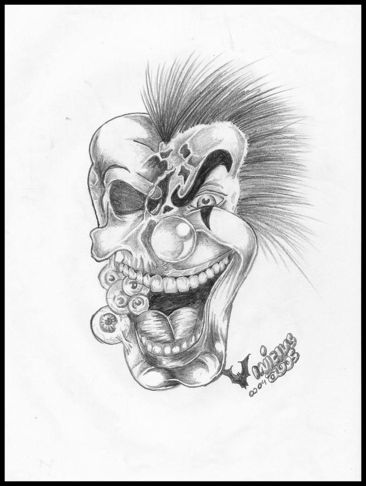 Desenho caveira palhaço 2b 6b tatuagem 2005 Design skull