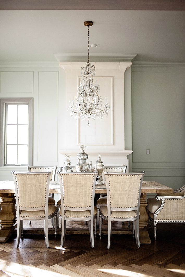 Dining Room Oly Chairs Rh Table Crystal Chandelier