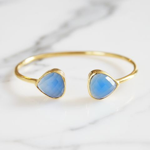 Blue Chalcedony Teardrop Bangle by Margaret Elizabeth | Margaret Elizabeth
