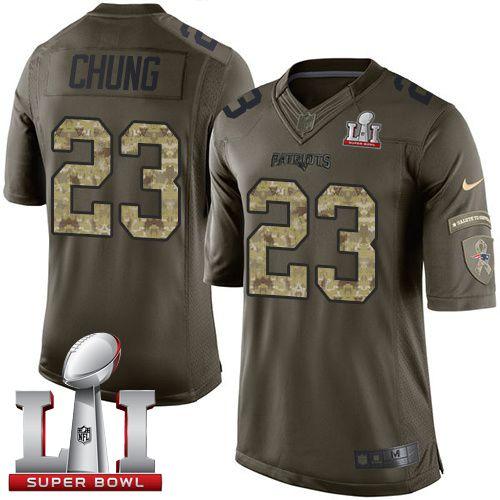 Nike Patriots #23 Patrick Chung Green Super Bowl LI 51 Men's Stitched NFL Limited Salute to Service Jersey