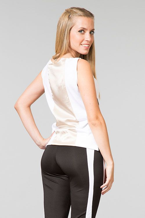 Juanita - pants black with white detail, different fabrics, neoprene, coolmax