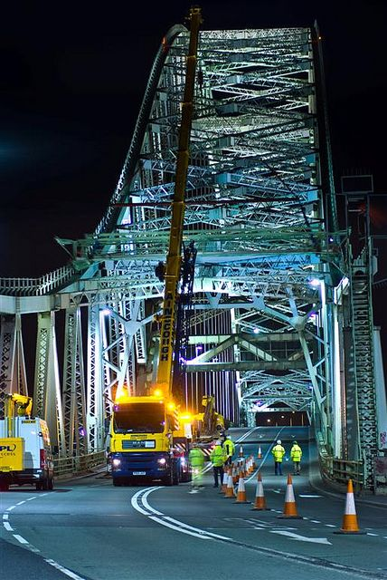 Maintenance work at night on the Silver Jubilee Bridge,  Widnes and Runcorn Cheshire