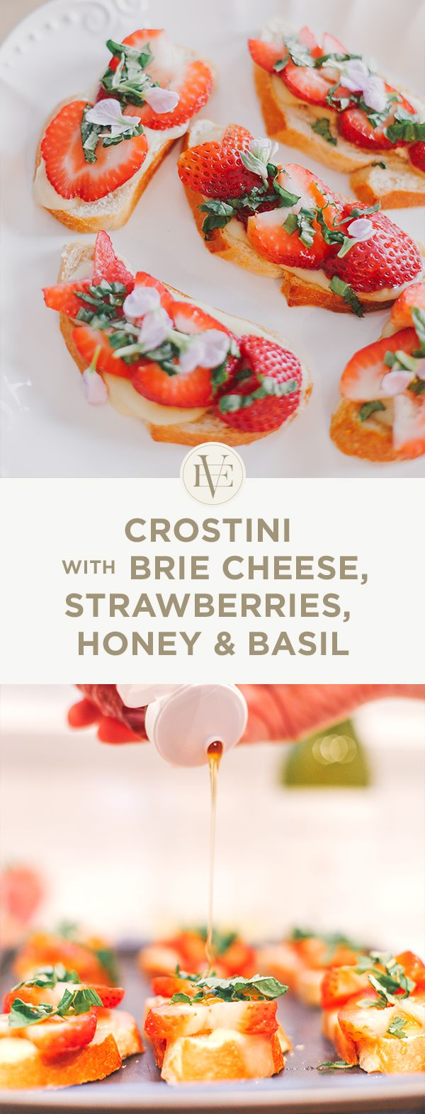 Crostini with Brie Cheese features fresh strawberries, honey and basil ...