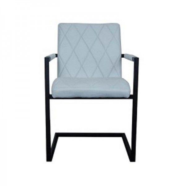 Stoel  in blauwe stof en onderstel van zwart staal. Verkrijgbaar in onze webwinkel. Prijs € 109,00