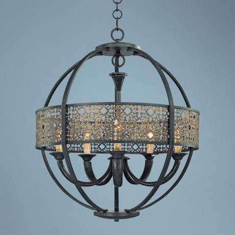 "Aresenal 28"" Wide Obsidian and Bronze Chandelier -"