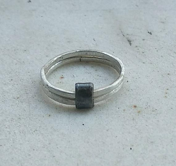 loop connection rock architectural inspiration modern Silver steampunk ring