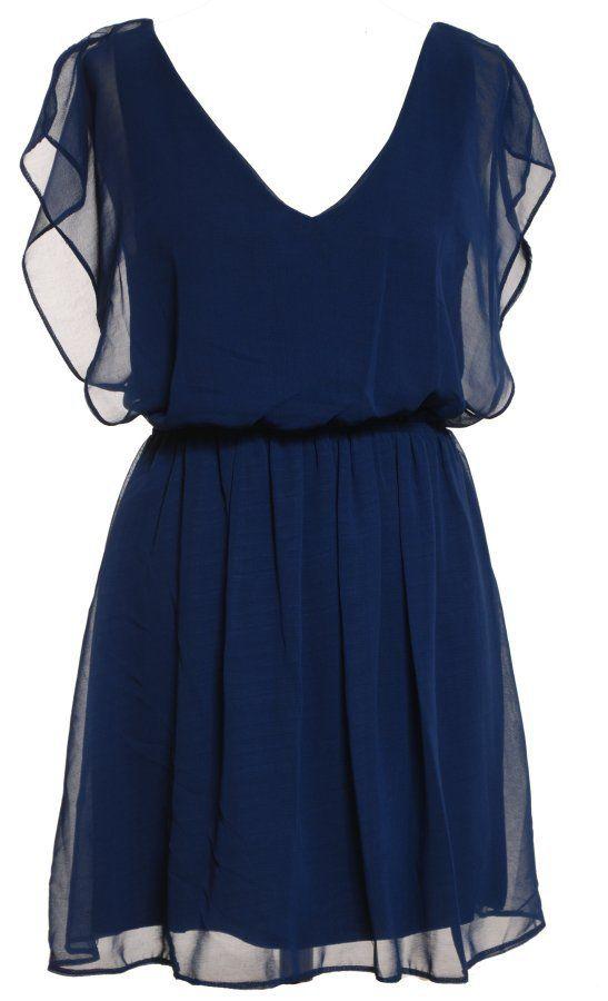 robe courte voile décolleté V resserrée à la taille - CpourL