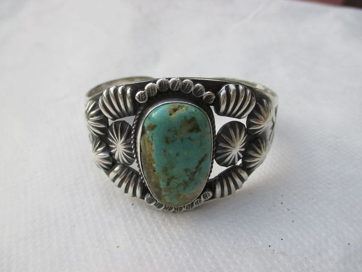 Kirk Smith  Sterling Silver Turquoise Cuff  Bracelet signed KS