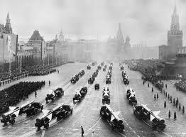 Parade of missiles in Red Square in Moscow.