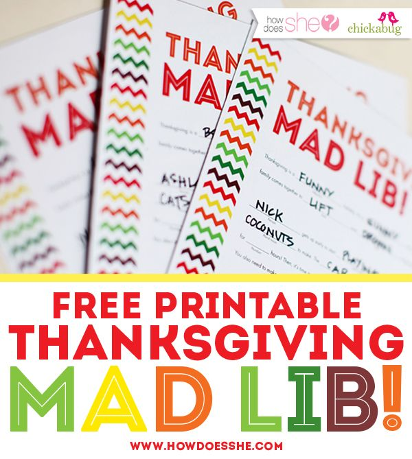 Free Thanksgiving Mad Lib Printable From How Does She: