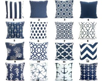 Premier navy blue and white pillow covers in your choice of size and pattern. 100% cotton.  Purchase one or mix and match several fabrics to get the look you want. Select a size then select the pattern from the drop down lists.  Envelope closure with the same fabric on the front and back. The seams are serged and reinforced in stress areas. The pillow insert is not included but can be purchased at any craft, fabric, or discount store. THE FINISHED SIZE OF THE PILLOW COVERS WILL BE APPROX…