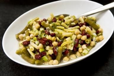 Perfect Picnic Three Bean Salad in Sweet Cider Vinaigrette: Bean Salad With Chickpeas