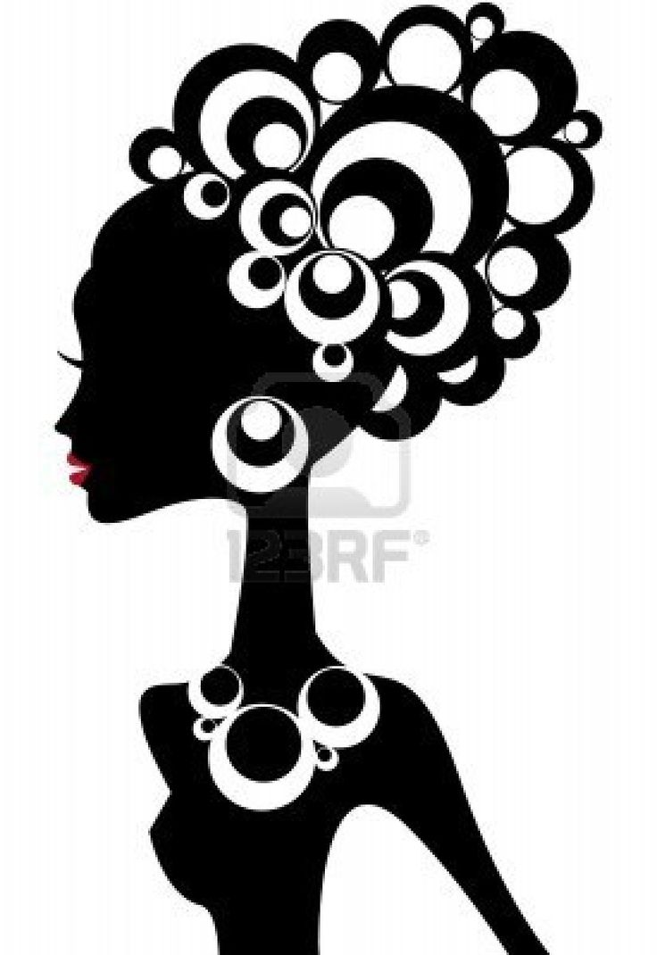 woman silhouette with black hair Stock Photo - 3658555