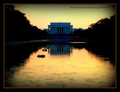 "Reflect on life at the famous reflecting pool in Washington D.C. (outside the Lincoln Memorial).  Find out more at ""Down the Wrabbit Hole - The Travel Bucket List"". Click the image for the blog post."