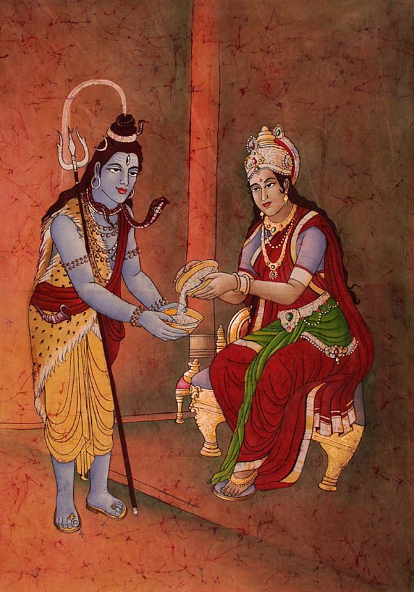 Annapurna feeding Lord Shiva. (Annapurna represents the goddess of plenty. She is calm, fruitful and fertile. Unlike most goddesses, Annapurna carries no weapons. Her most famous shrine is in Banaras. In Bengal, there is a tradition of producing clay images of the goddess ladling out food to Siva, who is shown as a begging mendicant.)