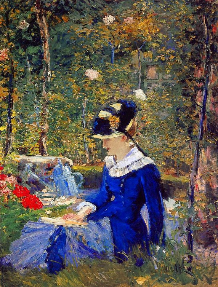 Édouard Manet | Young Woman in the Garden, 1880 | oil on canvas 153.7 x 116.8 cm Private Collection