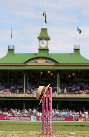 The hat of the late Tony Greig features ahead of play during day one of the Third Test match between Australia and Sri Lanka at the Sydney Cricket Ground.