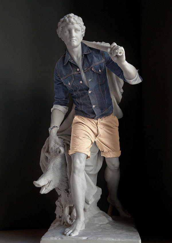 """Así se ven nueve estatuas famosas """"acicaladas"""" al estilo actual"""