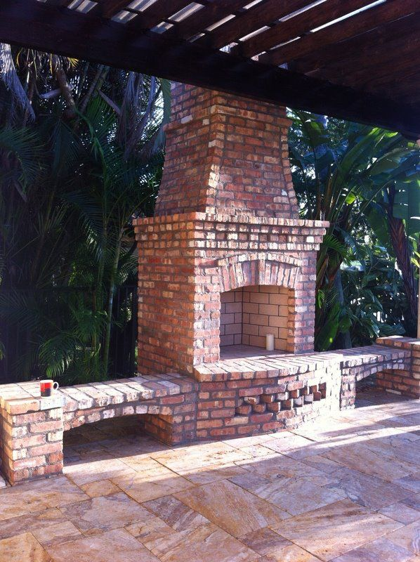 Brick, outdoor fireplace by Brandel Masonry in Davie, Fl.