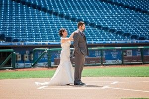 A first look held on the field at Citizens Bank Park #phillieswedding