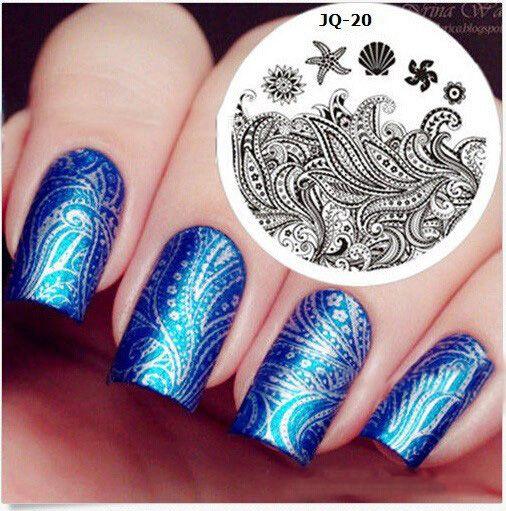 200 pçs/lote 50 estilos disponíveis DIY polonês nail stamping placas 3d stamping placa de Stencils Manicure JQN1-50 alishoppbrasil