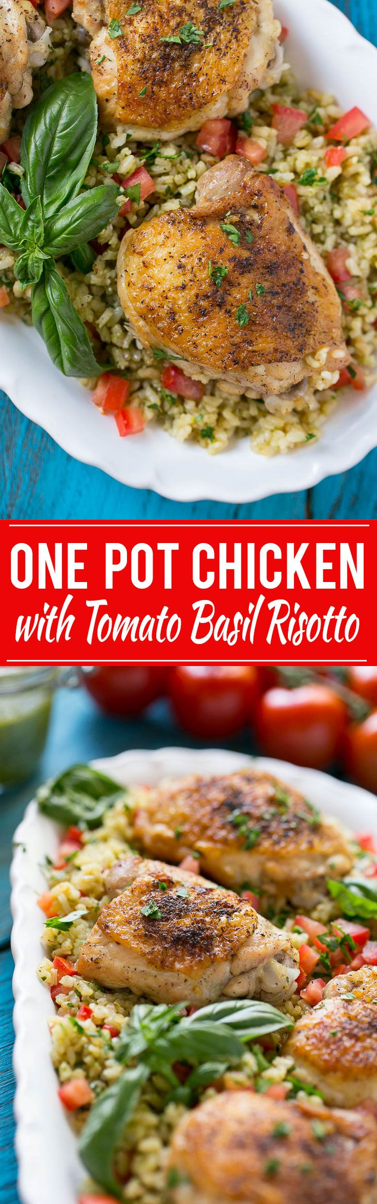 This one pot chicken with tomato basil risotto is the perfect weeknight meal - the whole thing bakes in the oven in a single dish!
