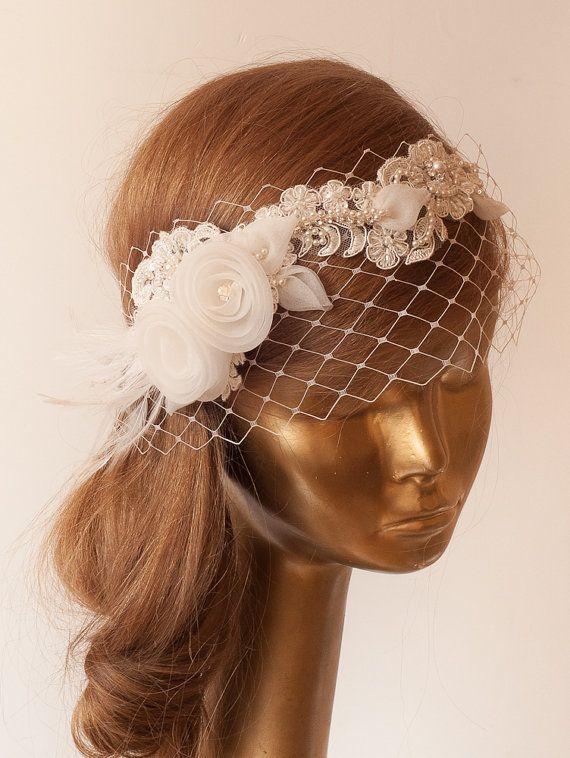 Ivory Lace BIRDCAGE VEIL, Vintage Style Birdcage Veil. Bridal FASCINATOR. on Etsy, $120.00