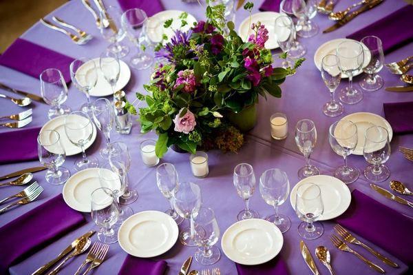 More gorgeous purple wedding table settings