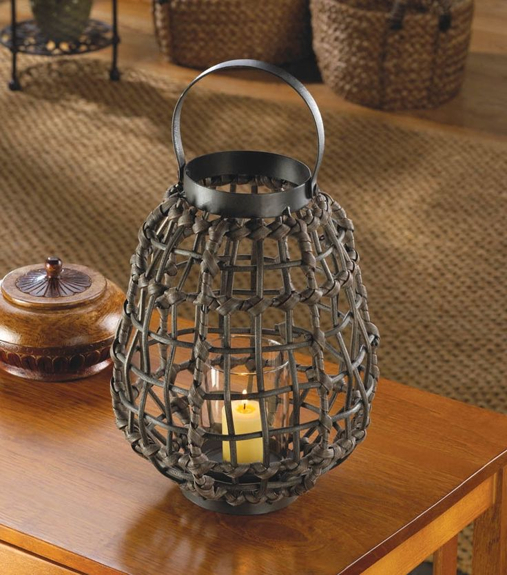 Brown Rattan Look Jungle Candle Holder Lantern African