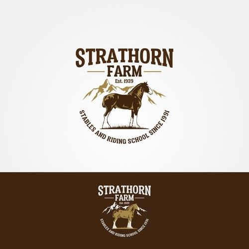 """Strathorn"" OR ""Strathorn Farm Stables and Riding School"" - Design logo for historic Farm Stable and Horse Riding School in Scotland famous for its Clydesdales"