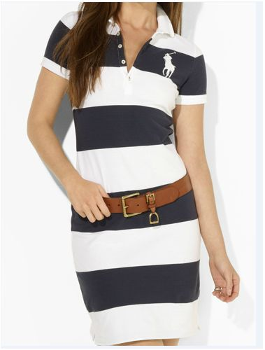 Wide Stripe Polo Dress navy/white