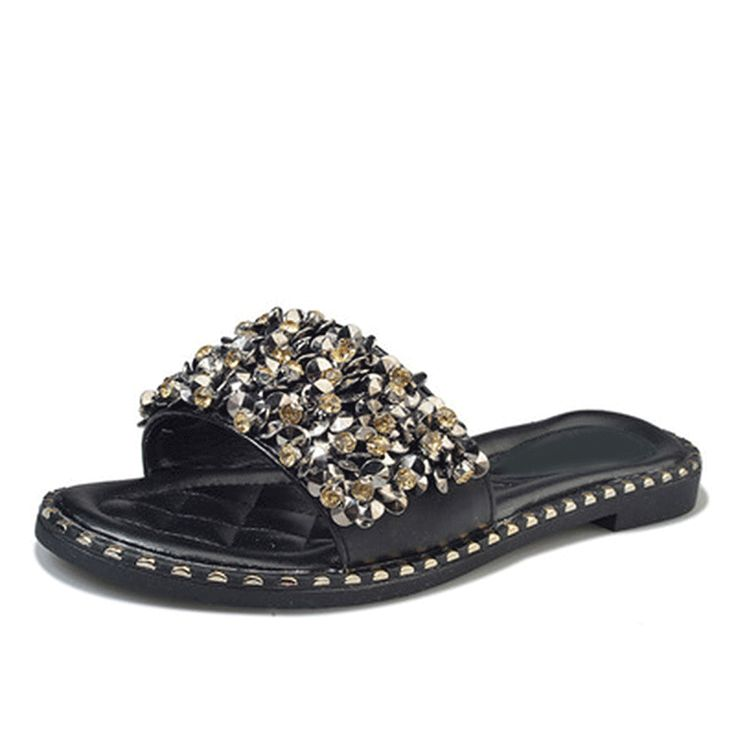 Woman Leisure Crystal Rivets Slides Slippers