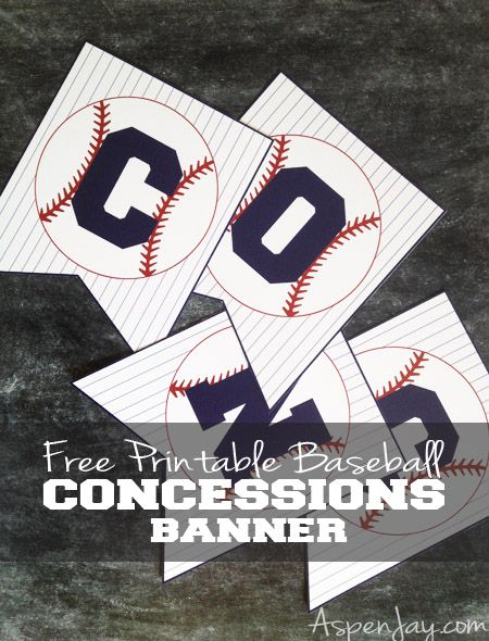 Free Printable Baseball Concessions Banner. -for BASEBALL BABY SHOWER Just print and cut! Super easy way to decorate the food table for any baseball themed party.