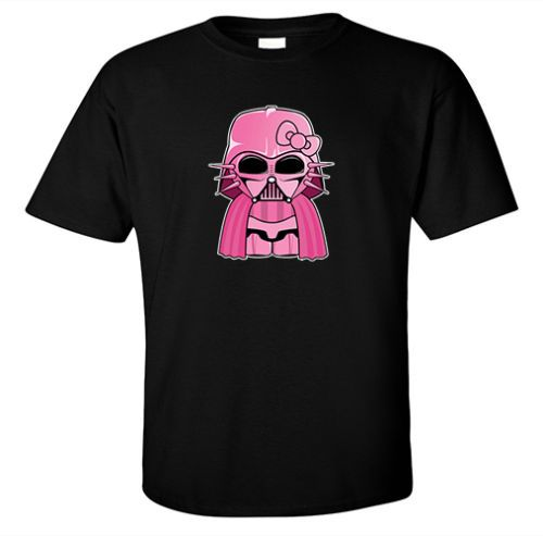 T-SHIRT-HELLO-KITTY-DARTH-VADER-PINK-STAR-WARS-EMPIRE-JEDI-FORCE-SITH-CUTE